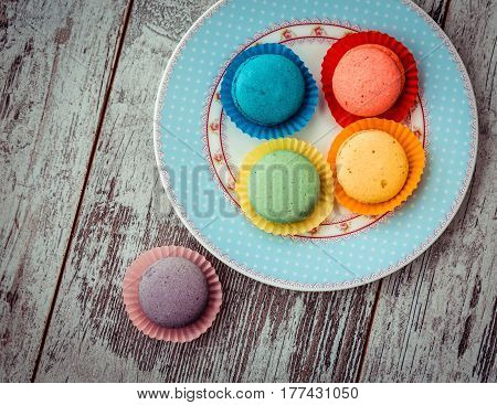 Macaroon Cookies On Plate Above View