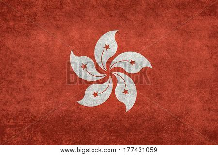 Hong Kong flag with grungy distressed textures