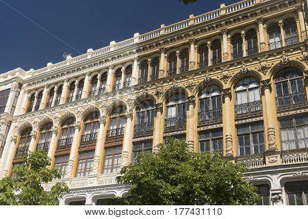 Valladolid (Castilla y Leon Spain): historic buildings with typical balconies and verandas