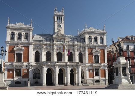VALLADOLID, SPAIN - JULY 26, 2016: Valladolid (Castilla y Leon Spain): historic buildings in Plaza Mayor the main square of the city