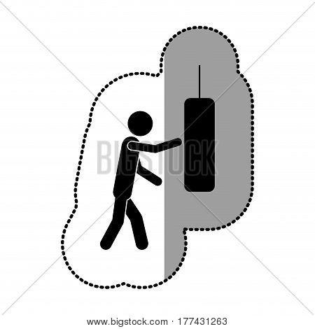 black person knocking punching bag, vector illustration desiign