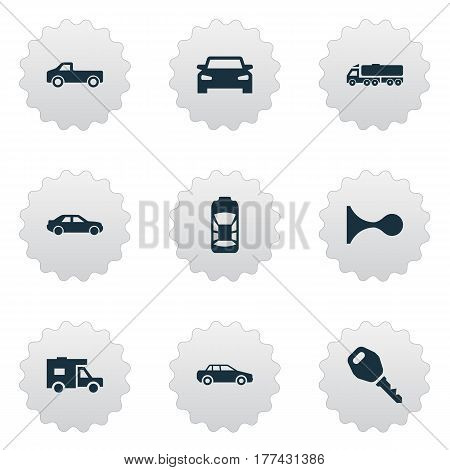 Vector Illustration Set Of Simple Automobile Icons. Elements Klaxon, Key, Haulage And Other Synonyms Truck, Trucking And Wagon.