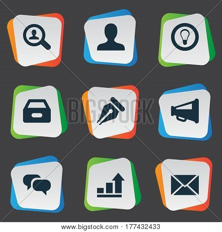 Vector Illustration Set Of Simple Business Icons. Elements Progress, Dossier, Inbox And Other Synonyms Graph, Sign And Files.