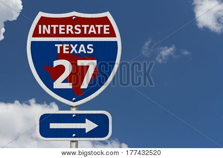 USA Interstate 27 highway sign Red white and blue interstate highway road sign with number 27 with sky background 3D Illustration