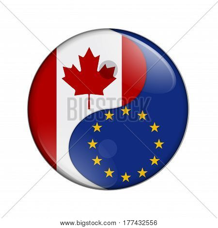 Canada and EU working together The Canadian flag and EU flag on a yin yang symbol isolated over white 3D Illustration