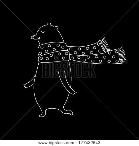 Linear cartoon bear illustration with sweet bear in scarf. Cute vector black and white bear illustration. Doodle monochrome bear illustration for prints, posters, t-shirts and cards.