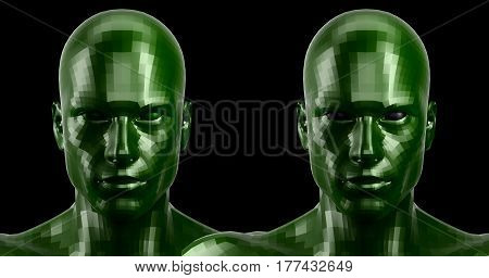 Low poly abstract portrait of a two green humanoids with black and green eyes . Cybernetic Futuristic Concept for your Design.