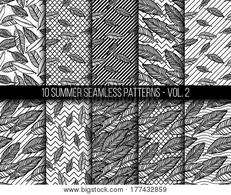 Simple seamless tropical jungle floral background set hand-drawing doodle leaves, diagonal striped texture. Summer pattern for your clothes, typography, design in classic 1990, 1980s