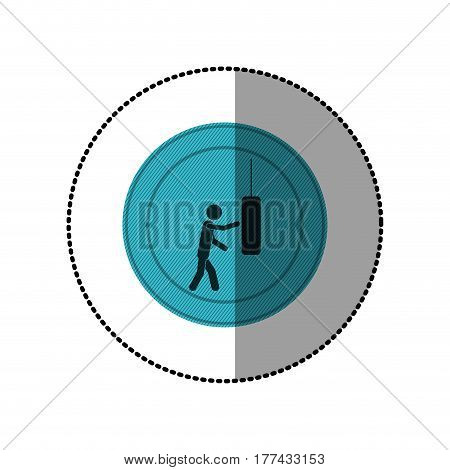 blue symbol person knocking punching bag, vector illustration desiign
