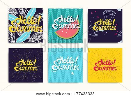 Hello Summer inscription posters, stiker set. Bright colorful trendy fashion background. Vector illustration with leaves, sunshine, fruit in pink, blue, yellow, green color