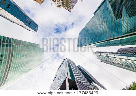 Modern Business Skyscrapers High-rise Buildings To The Sky