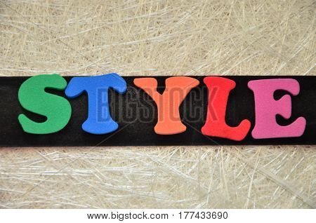 WORD STYLE ON A  ABSTRACT COLORFUL BACKGROUND