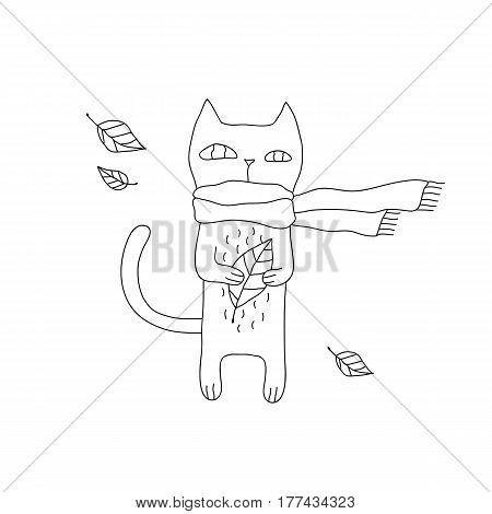 Linear cartoon animal illustration with hipster cat in scarf. Cute vector black and white animal illustration. Doodle monochrome animal illustration for prints, posters, t-shirts, flyers and cards.