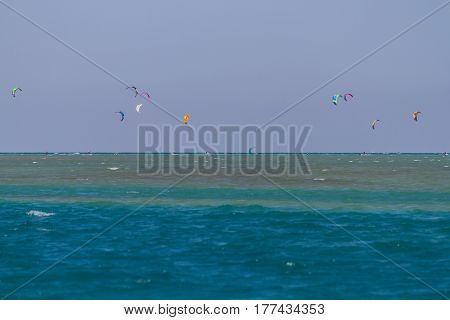 Kite surfing in the Red Sea in Egypt
