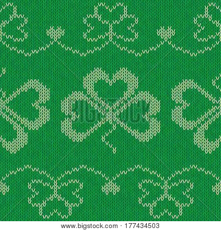 Saint Patricks day green knitted sweater with clover, vector seamless pattern