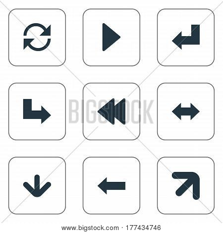 Vector Illustration Set Of Simple Arrows Icons. Elements Left Indication, Refresh, Downwards Pointing And Other Synonyms Arrow, Recycle And Pointing.