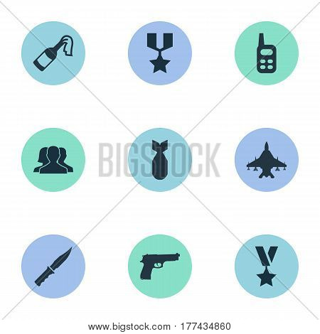 Vector Illustration Set Of Simple War Icons. Elements Molotov, Nuke, Sky Force And Other Synonyms Nuke, Pistol And Military.