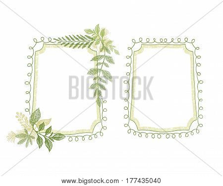 Greenery floral scrabble frame, plant leaves decoration vector. Hand drawn branch card design