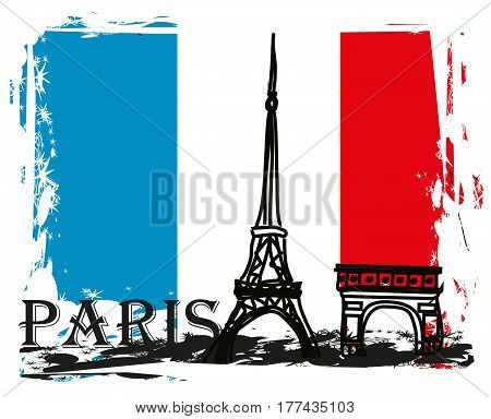 Paris France - grunge abstract card , vector illustration