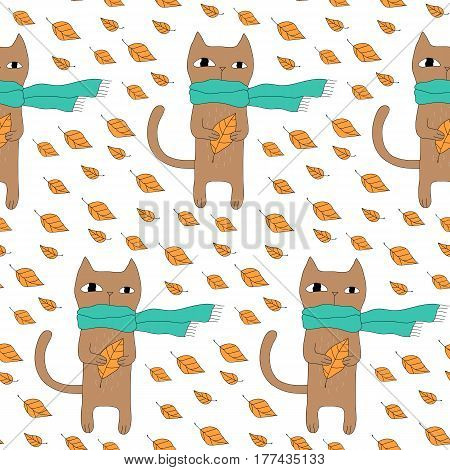Cartoon animal pattern with hand drawn cat in scarf. Cute vector hipster animal pattern. Seamless colorful doodle animal pattern for fabric, wallpapers, wrapping paper, cards and web backgrounds.