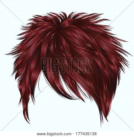 trendy  woman short  hairs  with fringe  . dark  red   color .   beauty style . realistic  3d .