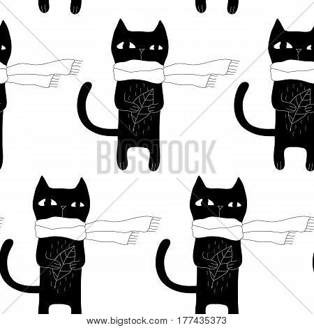 Cartoon cat pattern with hand drawn cat in scarf. Cute vector monochrome cat pattern. Seamless black and white doodle cat pattern for fabric, wallpapers, wrapping paper, cards and web backgrounds.