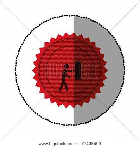 red emblem person knocking punching bag, vector illustration desiign