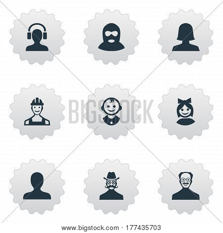Vector Illustration Set Of Simple Human Icons. Elements Woman User, Young Shaver, Moustache Man And Other Synonyms Whiskers, Felon And Mustache.