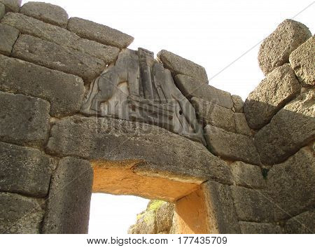 The Lion's gate at the Southern Entrance of the Mycenaean Acropolis Grave Circle A, Mycenae, Greece
