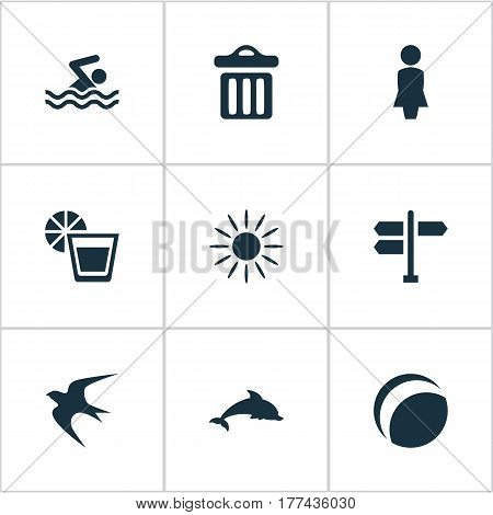 Vector Illustration Set Of Simple Seaside Icons. Elements Hot, Beverage, Swimming Man And Other Synonyms Sunshine, Mammalian And Games.