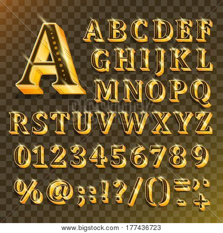 Golden English alphabet on transparent background. Vector illustration of letters, numbers and punctuation marks. The font contains question exclamation marks, period, comma, hyphen, parenthesis.
