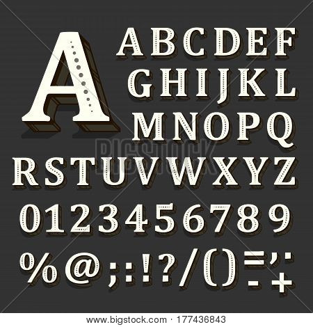 Black and white font on black background. The alphabet contains letters. Vector