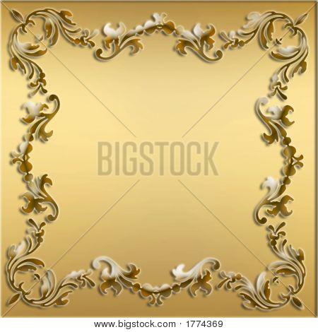 Decorative Gold Stylish Elements Border Frame