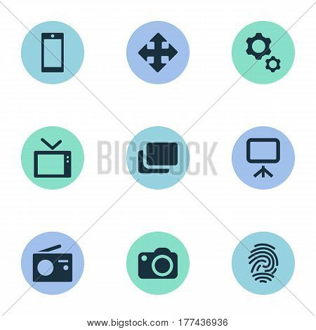 Vector Illustration Set Of Simple Hardware Icons. Elements Layout, Camera, Tuner And Other Synonyms Projector, Radio And Document.