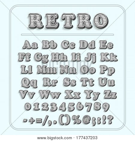 Retro font on light blue background. The alphabet contains letters, numbers, brackets, exclamation question marks, point, comma, slash