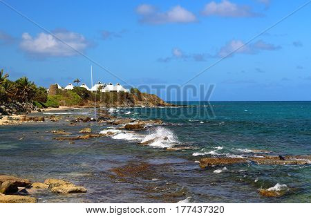 Rocky shoreline of the Caribbean at St. Croix, USVI