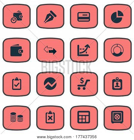 Vector Illustration Set Of Simple Financial Icons. Elements Cross On Clipboard, Rate, Calculator And Other Synonyms Consumption, Resources And Billfold.