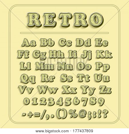 Retro font on light yellow background. The alphabet contains letters, numbers, brackets, exclamation question marks, point, comma, slash