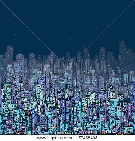 Night City Scene. Hand Drawn, Vector Illustration