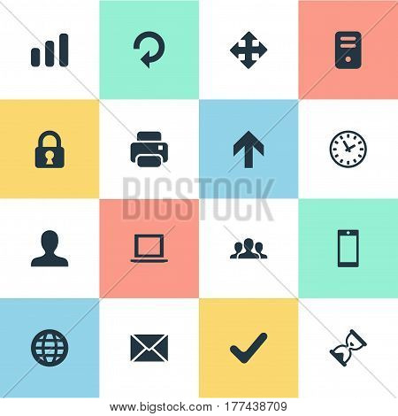 Vector Illustration Set Of Simple Apps Icons. Elements Printout, Community, Web And Other Synonyms Globe, Printout And Computer.