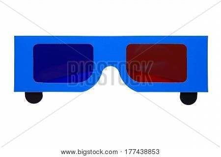 Paper anaglyph 3D glasses isolated on white background