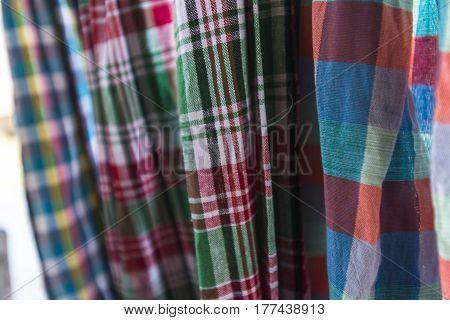 Close up texture of thai style loincloth, Sensitive Focus
