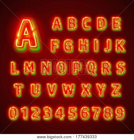 Red fluorescent neon font on dark background. Nightlight alphabet. Vector