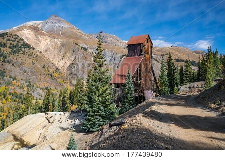 The abandoned Yankee Girl silver mine in the Red Mountain mining region of Colorado.