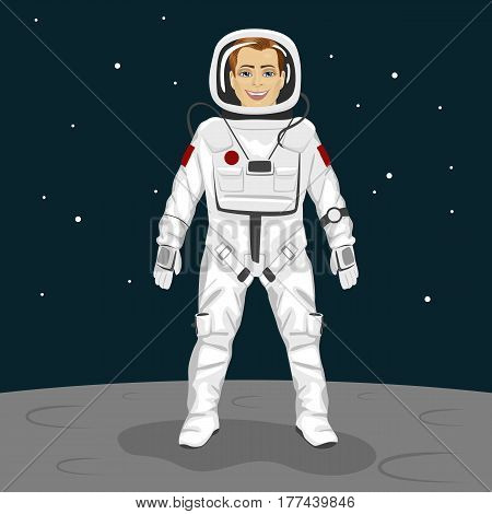 Young brave astronaut standing on the moon surface