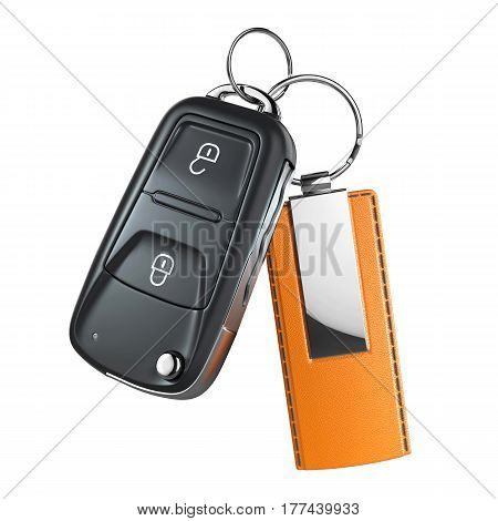 Car switchblade key with pendant isolated on white background 3d