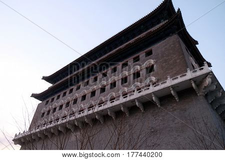 BEIJING - FEBRUARY 24, 2016: Archery Tower of Zhengyangmen is a gate in Beijing's historic city wall situated to the south of Tiananmen Square and once guarded the southern entry into the Inner City.