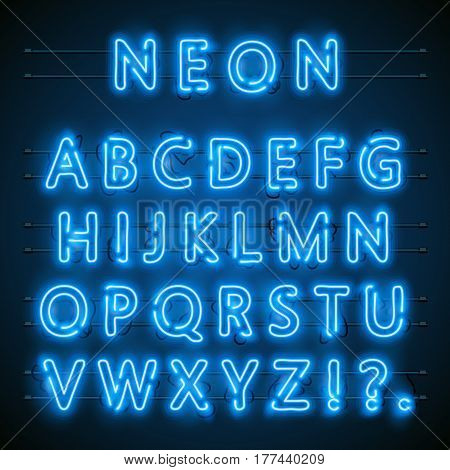 Neon font city. Neon blue font english. City blue font. Alphabet font. Vector