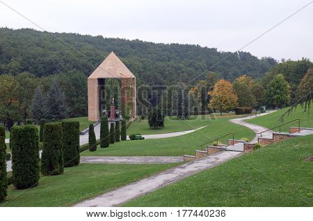 ZAGREB, CROATIA - OCTOBER 10: The Mirogoj cemetery is a cemetery park, one of the most notable sites of Zagreb, Croatia on October 10, 2015.