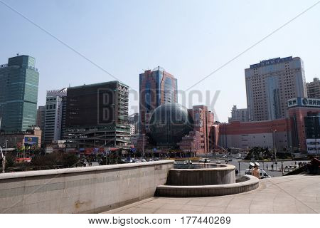 SHANGHAI - FEBRUARY 28: Xujiahui in Shanghai. Xujiahui was established in May 1994 as a subdistrict of Xuhui District and is nowadays welknown for its electronics shopping malls, February 28, 2016.